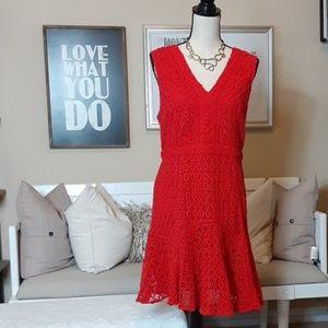Anthropology  (San & Soni) Red Eyelet Dress  (12)